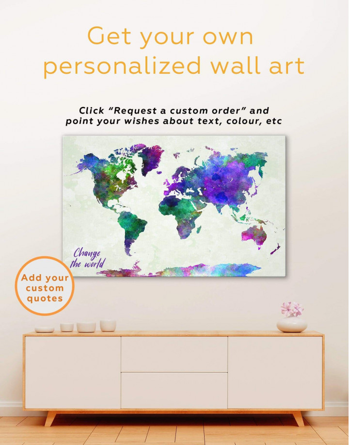 Modern Colorful World Map Canvas Wall Art - Image 1