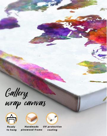 Modern Colorful World Map Canvas Wall Art - image 3