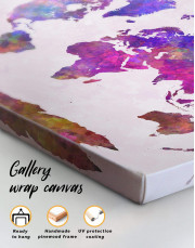Purple Abstract World Map Canvas Wall Art - Image 1