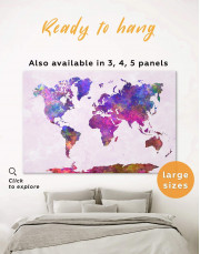 Purple Abstract World Map Canvas Wall Art - Image 0