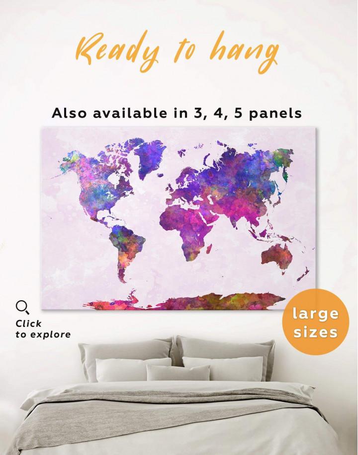 Purple Abstract World Map Canvas Wall Art