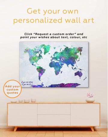 Purple Abstract World Map Canvas Wall Art - image 2