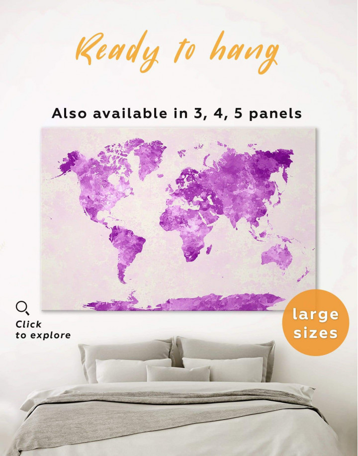 Violet Watercolor World Map Canvas Wall Art - Image 0