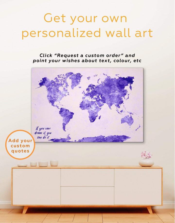 Violet Watercolor World Map Canvas Wall Art - Image 1