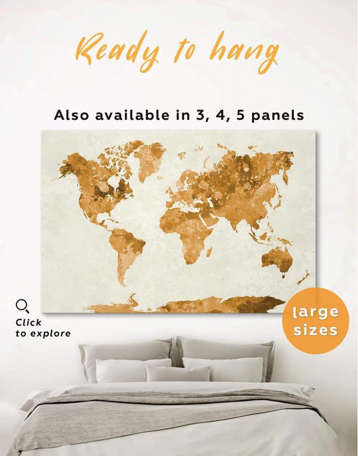 Large Gold World Map Canvas Wall Art - Image 0