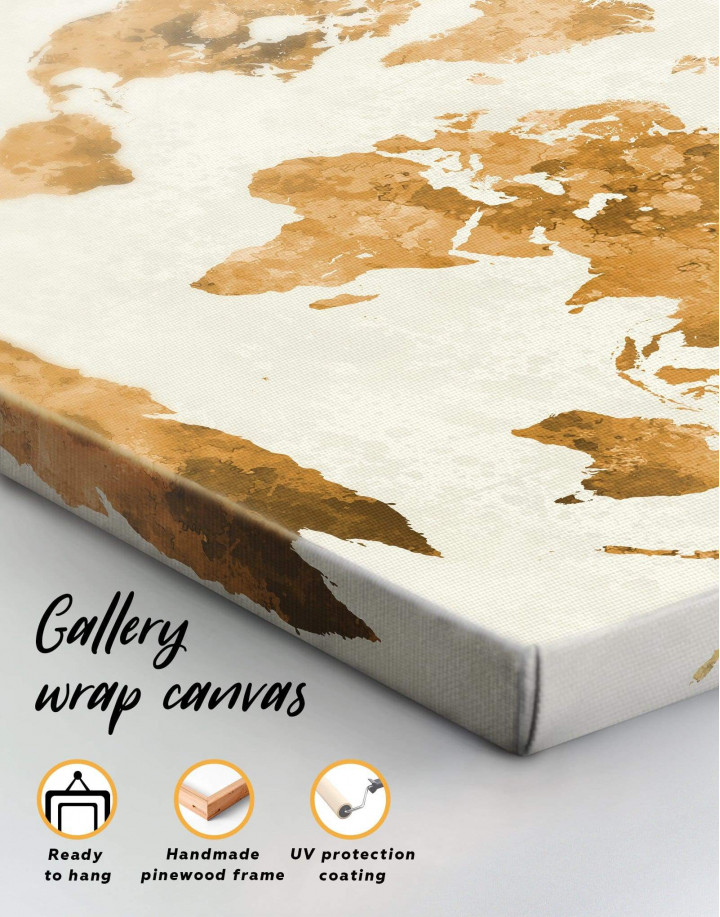 Large Gold World Map Canvas Wall Art - Image 1