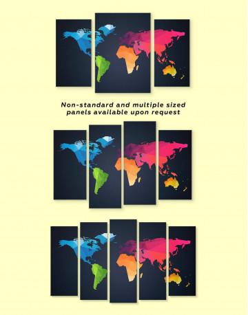 Colorful Geometric World Map Canvas Wall Art - image 2