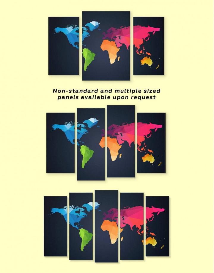 Colorful Geometric World Map Canvas Wall Art - Image 3