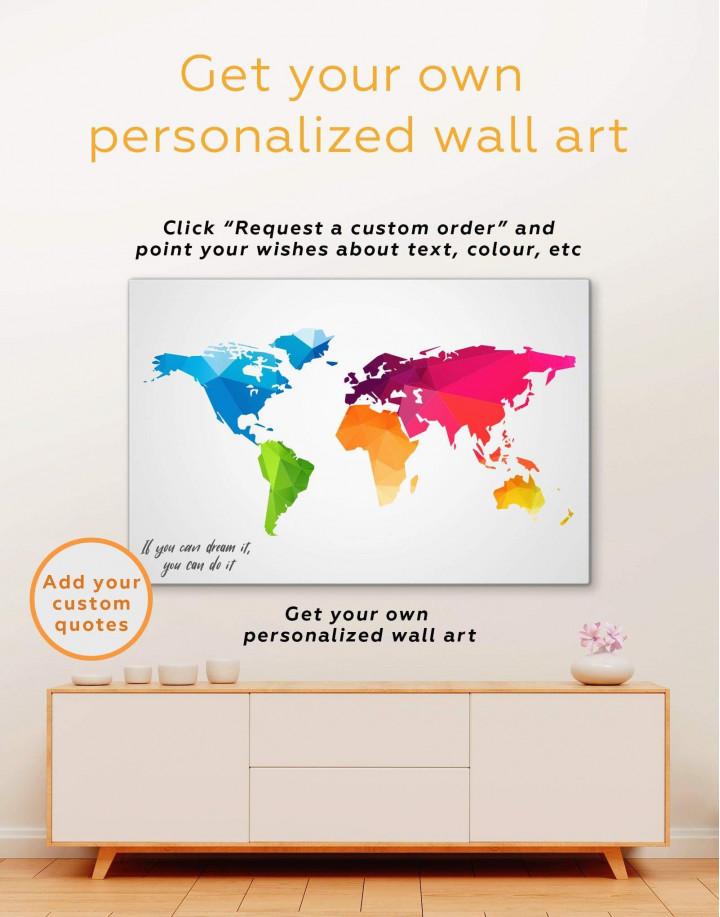 Colorful Geometric World Map Canvas Wall Art - Image 1