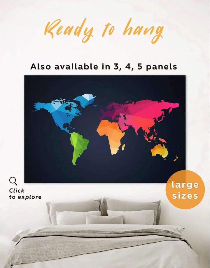 Colorful Geometric World Map Canvas Wall Art - Image 0