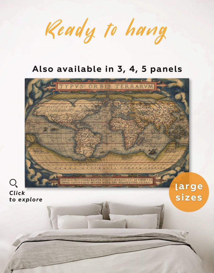 Antique Map of the World Canvas Wall Art - Image 0