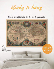 Old Hemisphered World Map Canvas Wall Art - Image 0