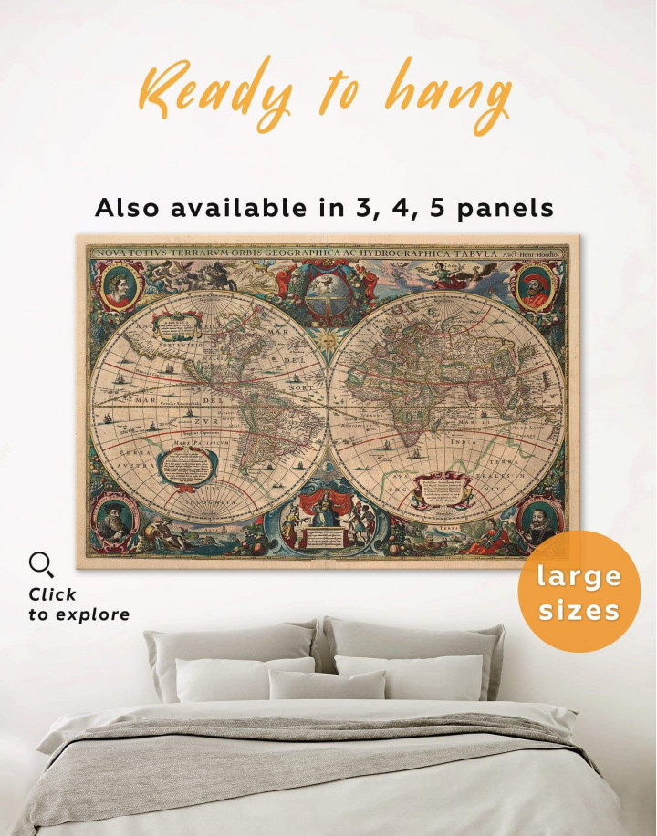 Old Hemisphered World Map Canvas Wall Art - Image 0