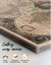 Old Hemisphered World Map Canvas Wall Art - Image 1