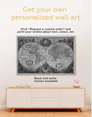 Old Hemisphered World Map Canvas Wall Art - Image 3