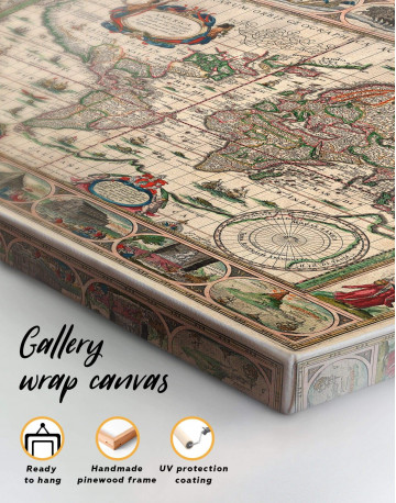 Large Antique Style World Map Canvas Wall Art - image 5