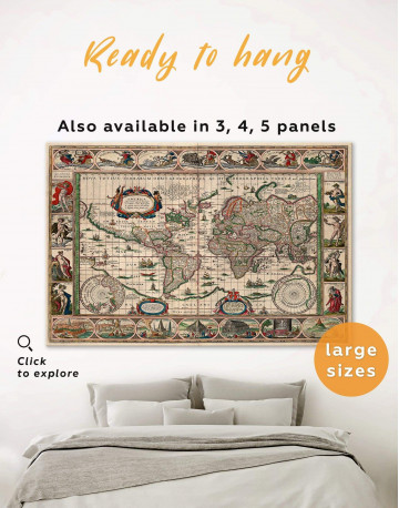 Large Antique Style World Map Canvas Wall Art