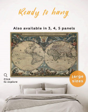 Antique Style Map of the World Canvas Wall Art - Image 0