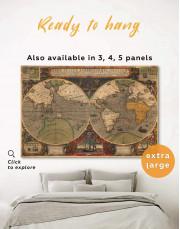 Vintage Hemisphered World Map Canvas Wall Art - Image 0