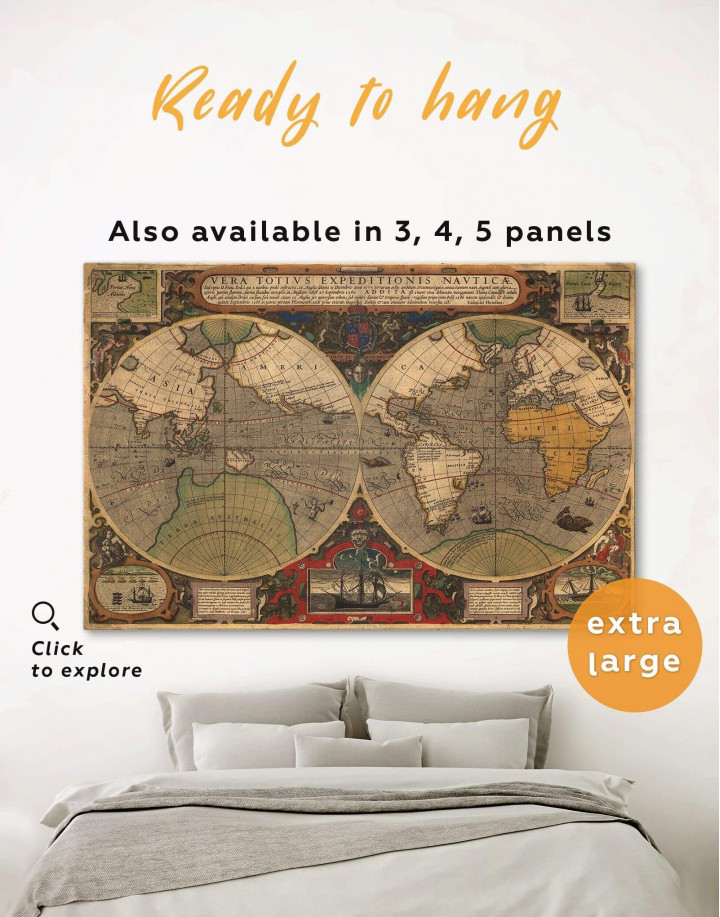 Vintage Hemisphered World Map Canvas Wall Art - Image 0