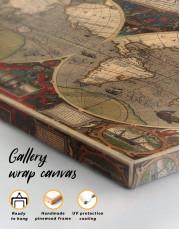 Vintage Hemisphered World Map Canvas Wall Art - Image 4
