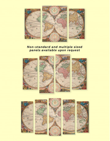 Antique Hemisphered World Map Canvas Wall Art - image 3