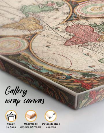 Antique Hemisphered World Map Canvas Wall Art - image 1