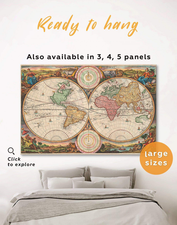 Antique Hemisphered World Map Canvas Wall Art - Image 0