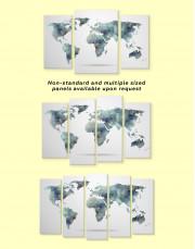 Grey Geometric World Map Canvas Wall Art - Image 3