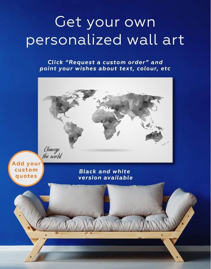 Grey Geometric World Map Canvas Wall Art - Image 4