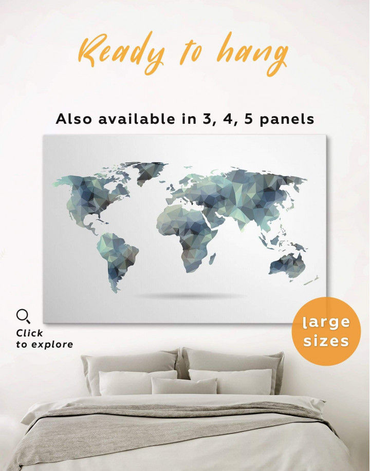 Grey Geometric World Map Canvas Wall Art - Image 0