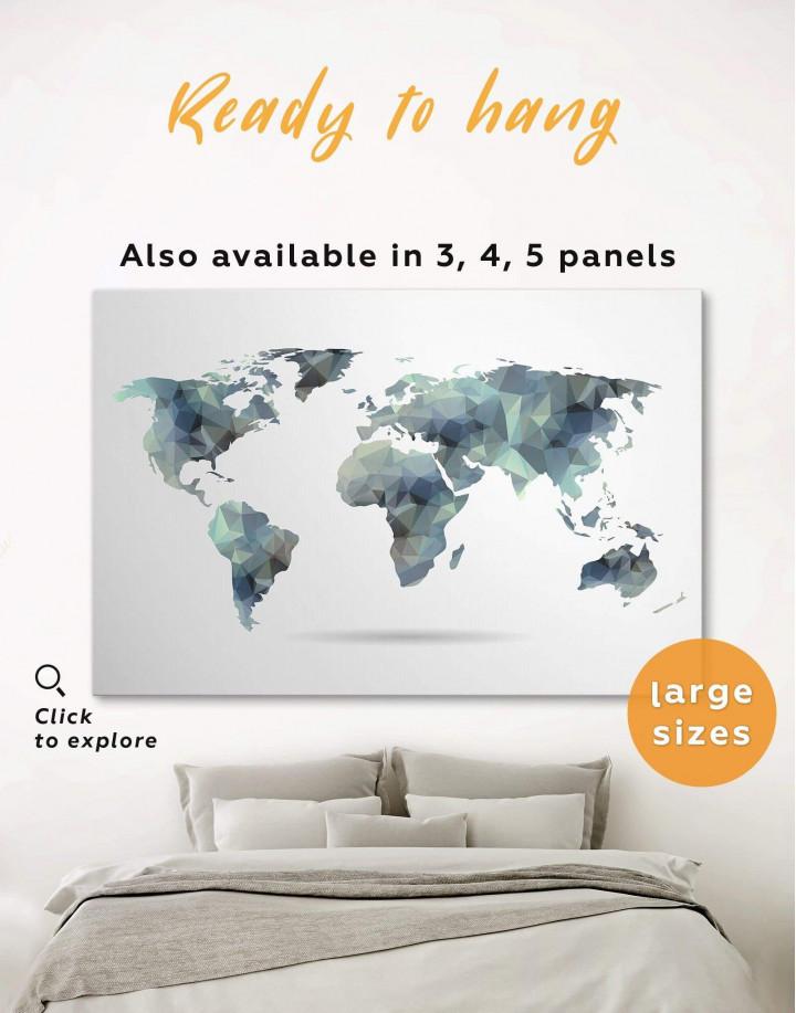 Grey Geometric World Map Canvas Wall Art