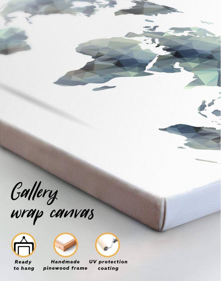 Grey Geometric World Map Canvas Wall Art - Image 1