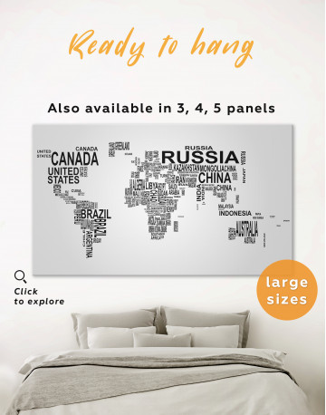 Abstract Word World Map Canvas Wall Art