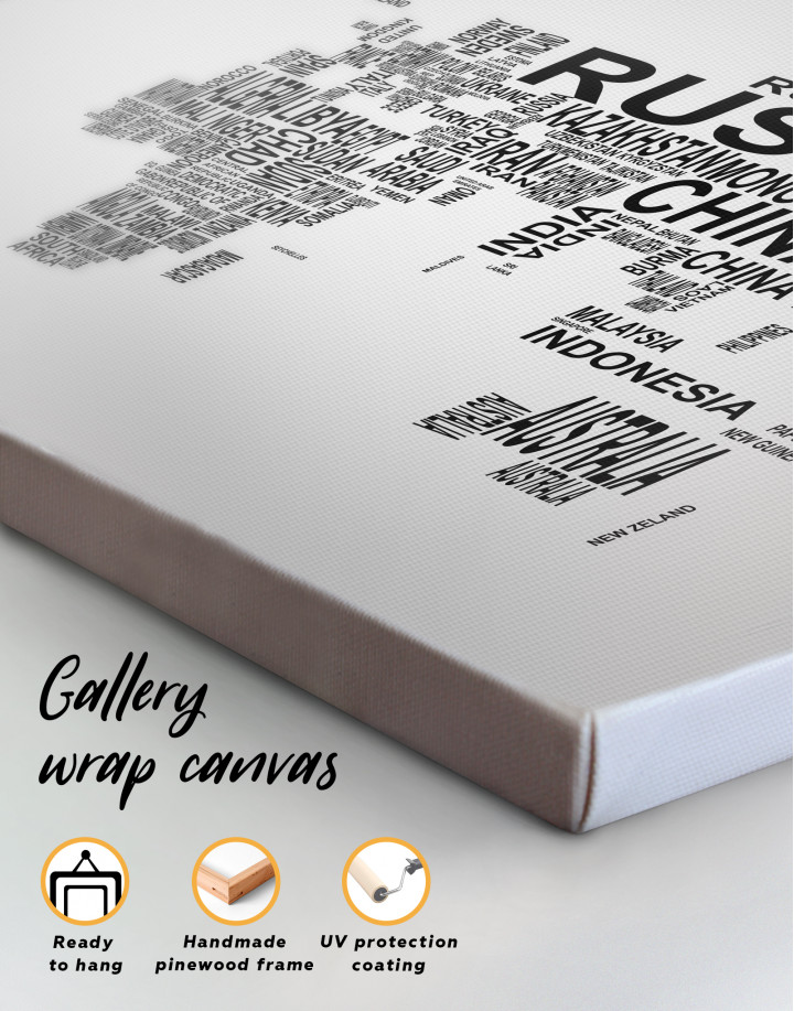 Abstract Word World Map Canvas Wall Art - Image 1