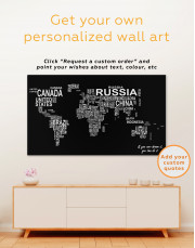 Abstract Word World Map Canvas Wall Art - Image 3