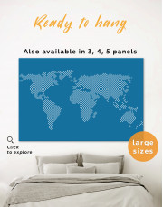Blue Dotted World Map Canvas Wall Art