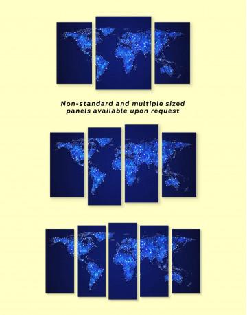 Deep Blue Abstract World Map