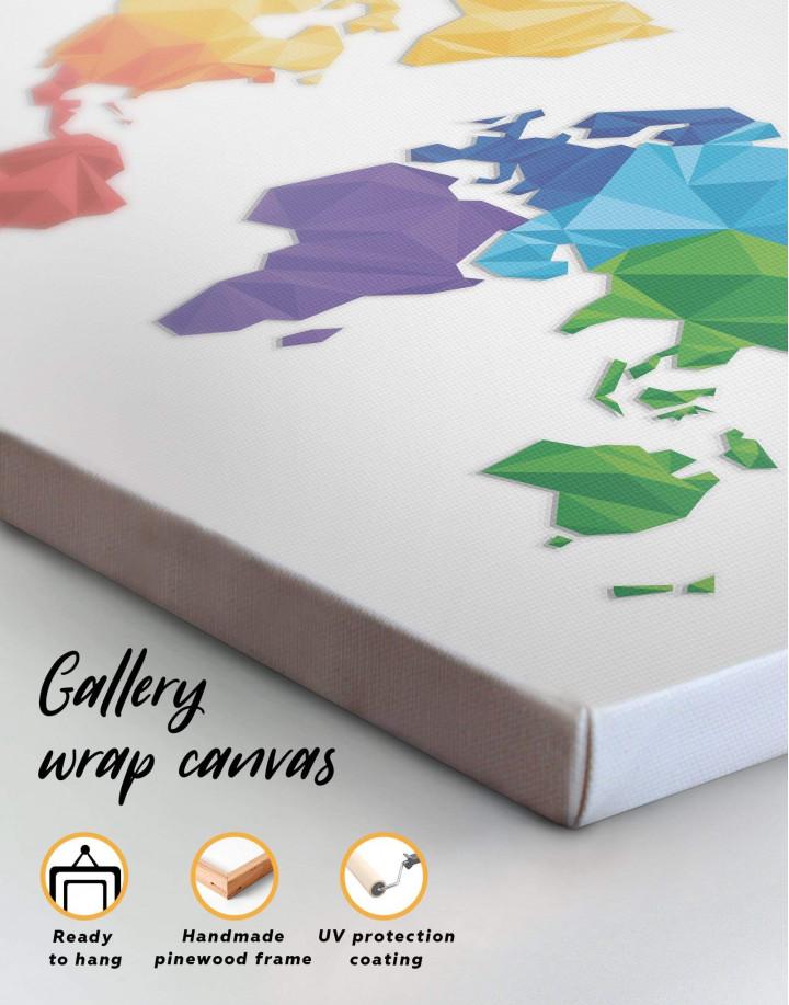 Minimalistic Geometric World Map Canvas Wall Art - Image 1
