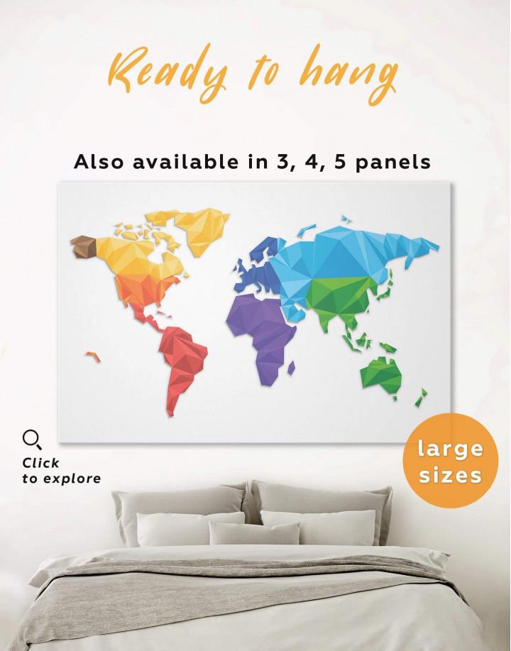 Minimalistic Geometric World Map Canvas Wall Art