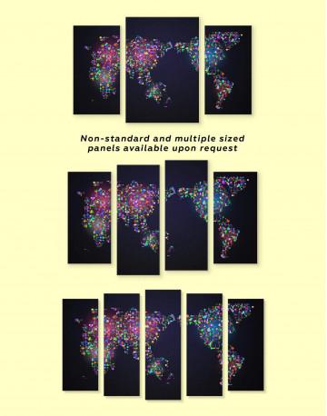 Modern Night World Map Canvas Wall Art - image 2