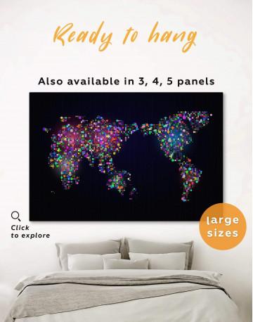 Modern Night World Map Canvas Wall Art