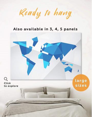 Blue Geometric World Map Canvas Wall Art