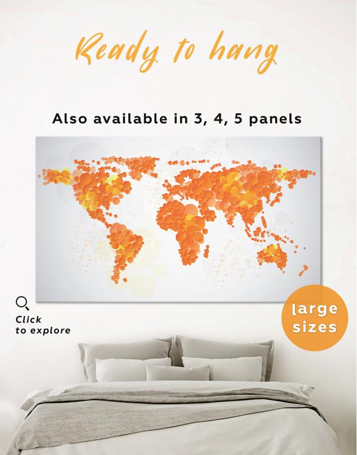 Orange Dotted World Map Canvas Wall Art