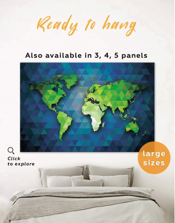 Blue and Green World Map Canvas Wall Art