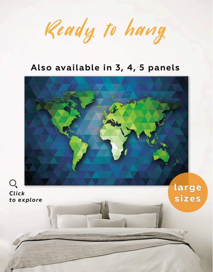Blue and Green World Map Canvas Wall Art - Image 0