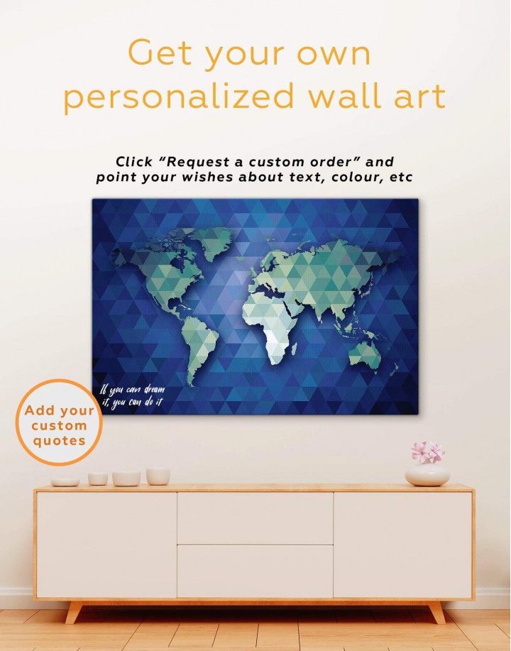 Blue and Green World Map Canvas Wall Art - Image 1