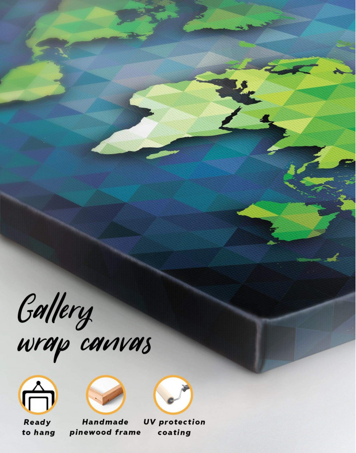 Blue and Green World Map Canvas Wall Art - Image 4