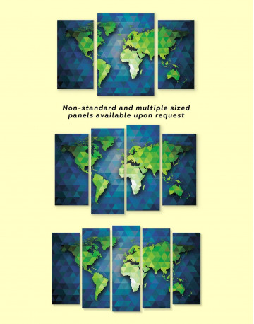Blue and Green World Map Canvas Wall Art - image 3