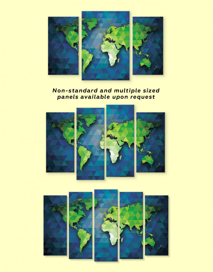 Blue and Green World Map Canvas Wall Art - Image 2